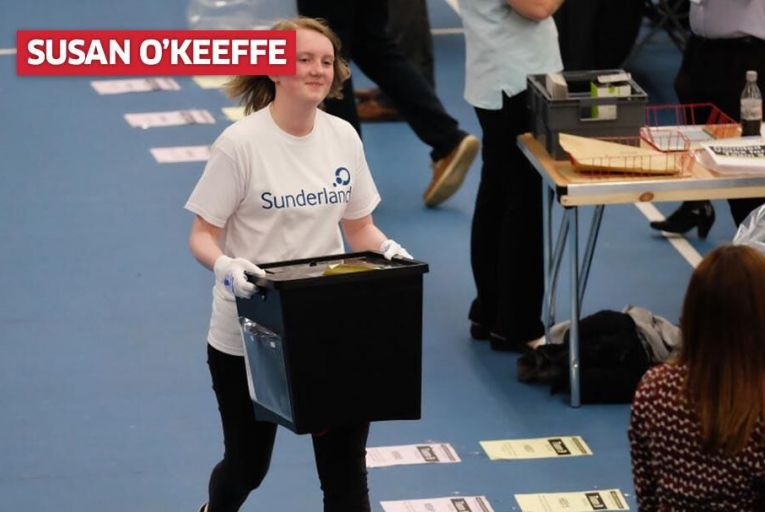 Counting of votes in Sunderland in the British election. Pic: Getty