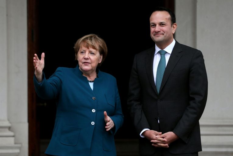 Angela Merkel with Leo Varadkar, the then Taoiseach, during her visit to Ireland last year. Picture: Brian Lawless/PA
