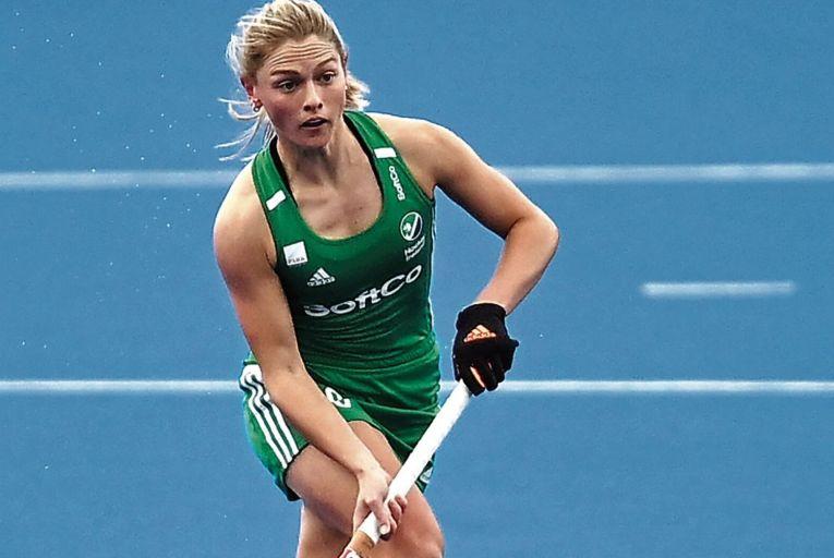 Chloe Watkins during the SoftCo Series International Hockey match between Ireland and Britain.