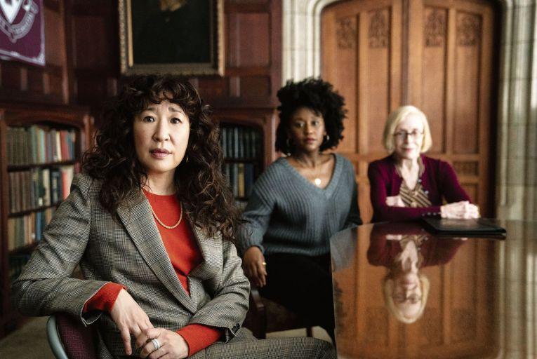 Sandra Oh, Nana Mensah and Holland Taylor in The Chair