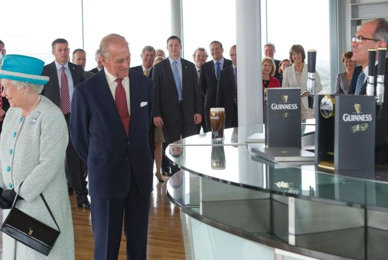 Prince Philip eyes up a pint at the Guinness Storehouse on May 18, 2011. Picture: Getty