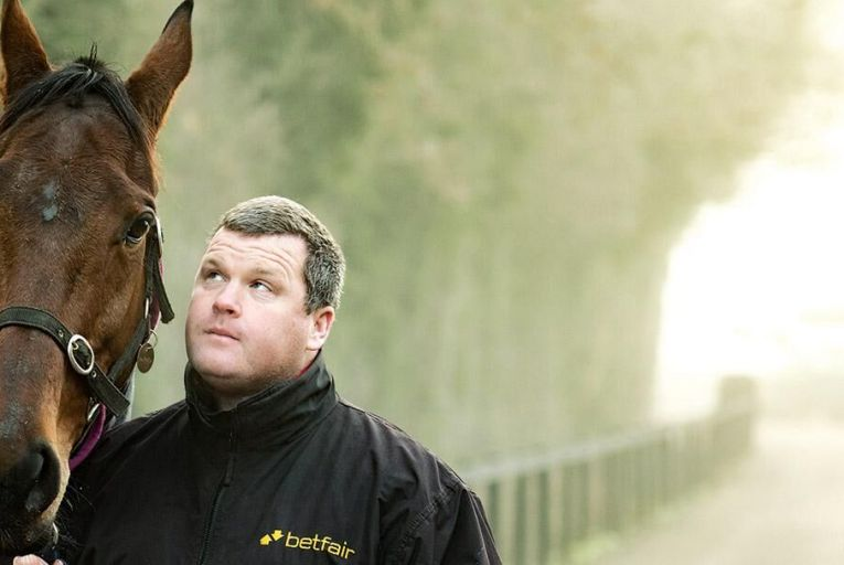 Gordon Elliott pictured with  Noble Endeavor at Cullentra  House in Longwood, Co Meath Picture: Barry Cronin