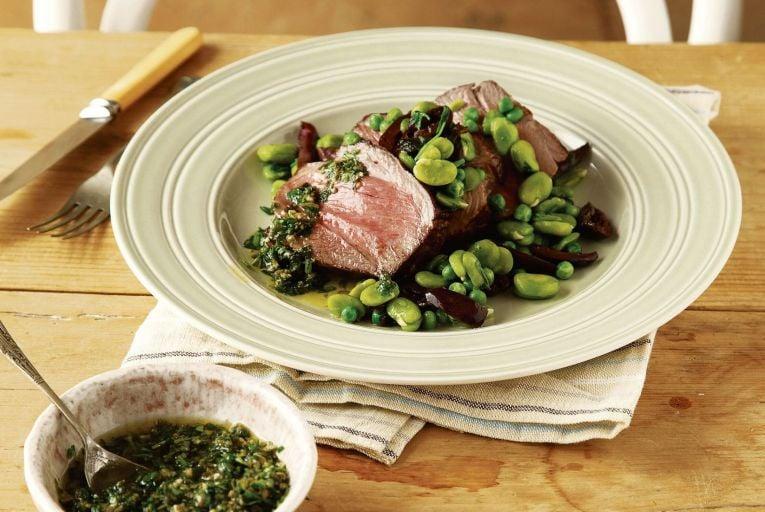 Roast lamb rump, peas, broad beans, salsa verde and black olives
