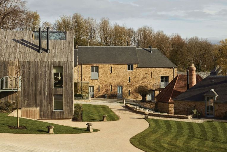 A courtyard view of The Farmyard at The Newt