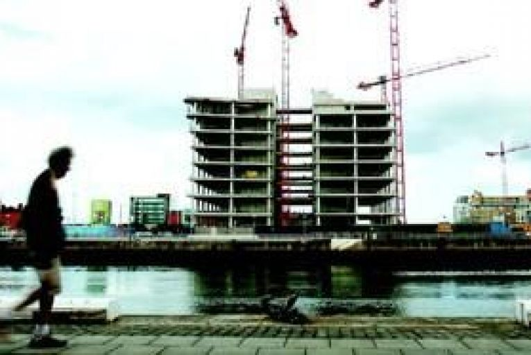 The unfinished, half-built Anglo headquarters on Dublin\'s north quays. Photo: Bloomberg