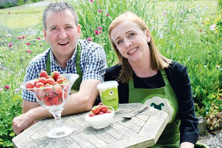Michael and Aisling Flanagan of Rockfield Dairy, makers of Velvet Cloud yoghurt. The company is offering nationwide delivery of six 450g tubs with a shelf life of 21 days for €30. Picture: Joleen Cronin