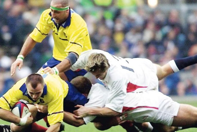 Alin Petrache of Romania (bottom left) makes a burst for the line against England at Twickenham in November 2001: the Oaks have declined as a rugby nation in recent timesGetty