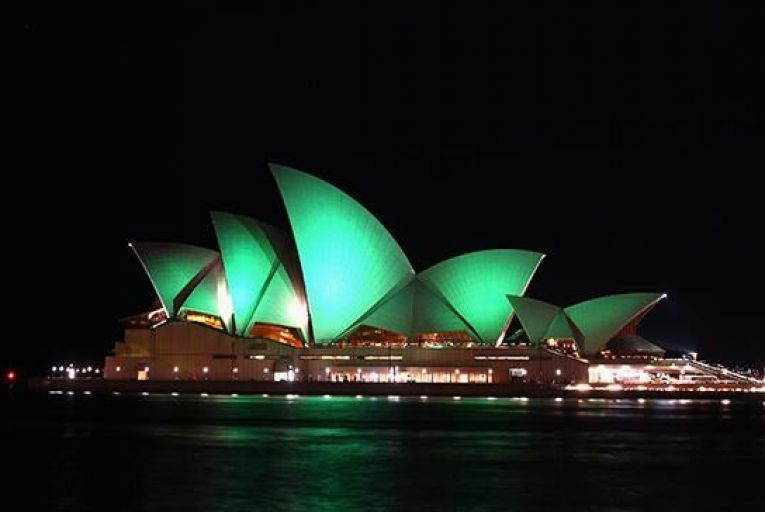 The Sydney Opera House swathed in green Pic: Getty