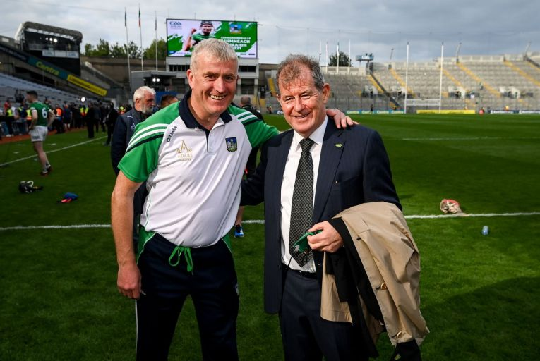 John Kiely, the Limerick manager, and JP McManus, the billionaire who provides financial support to the country team, after last week's all-Ireland hurling final win. Picture: Stephen McCarthy/Sportsfile via Getty Images)