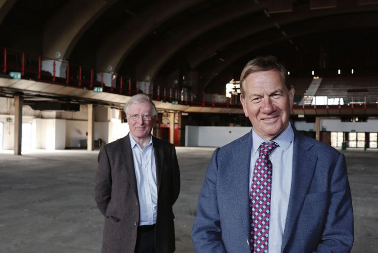 Michael Portillo and historian Michael Laffan at the King's Hall in Belfast during filming of Partition, 1921