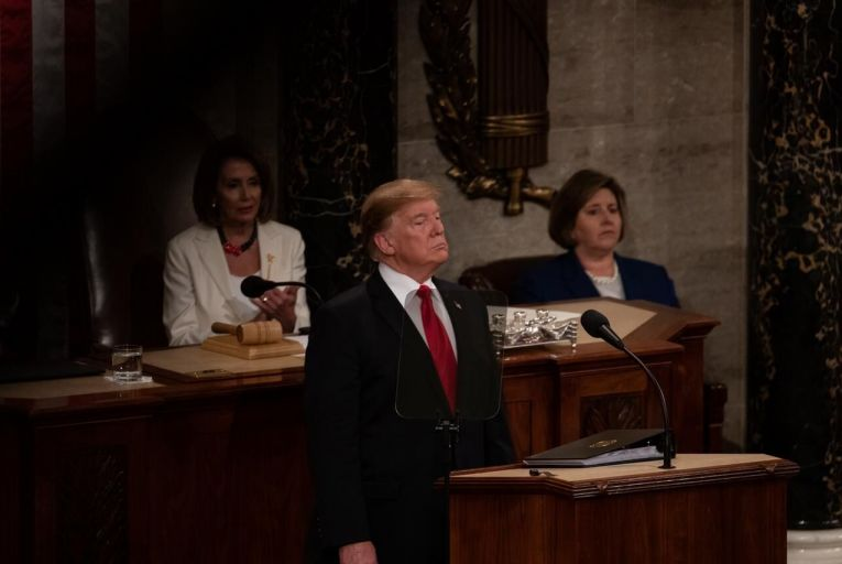 Donald Trump delivering his second State of the Union address. Pic: Getty