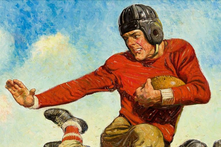 College Football by Joseph F Kernan, published as a Saturday Evening Post cover in 1932, sold for $75,000 recently