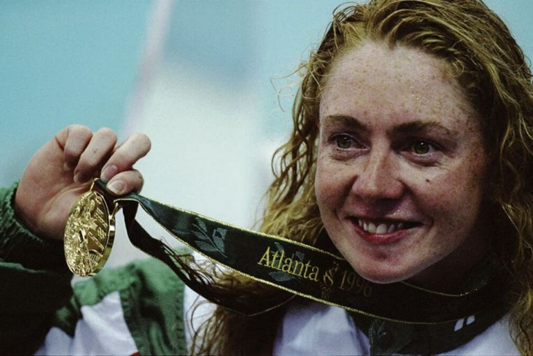 Michelle Smith de Bruin's gold medals from the Atlanta 1996 Olympics were not taken from her, despite her being banned from her sport in 1998. Picture: Getty