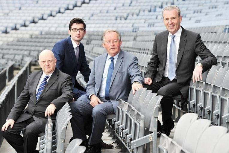From left: Graham Watts OBE, Chief Executive, Construction Industry Council, UK; Ian Kehoe, Editor, The Sunday Business Post; Tom Parlon, Director General, Construction Industry Federation; Michael Stone, President, Construction Industry Federation          Pictures Maura Hickey
