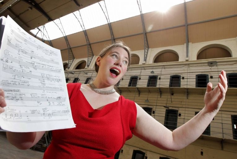 Elizabeth Hilliard appearing at Kilmainham Gaol. The soprano will perform as part of the Dublin International Chamber Music Festival. Picture: Mark Stedman