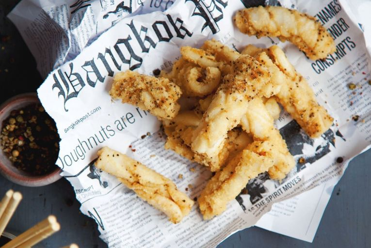 Black pepper squid is one of Saba's most popular dishes, both in the restaurant and within the to-go range