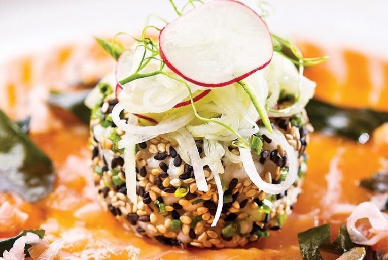 Andy Reas smoked salmon with sesame crusted sushi rice, seaweed salad and ponzu dressing
