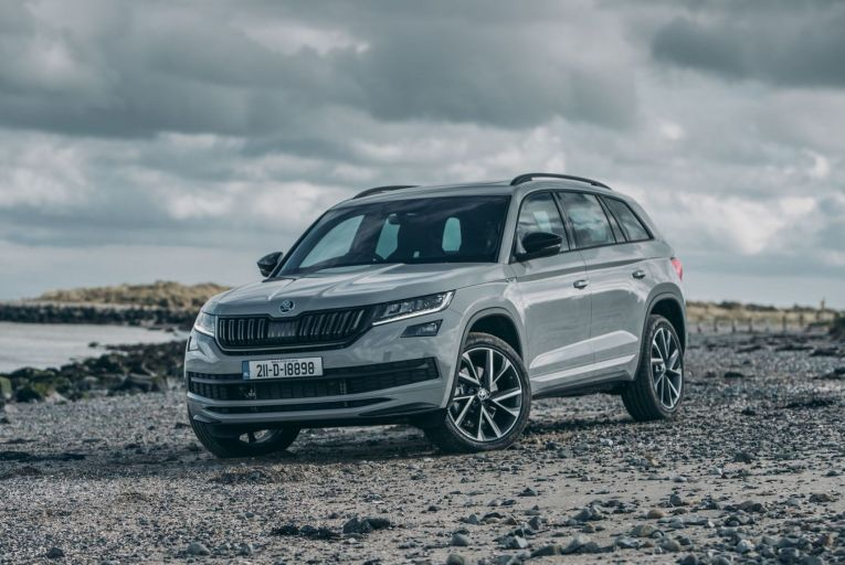 The new diesel Kodiaq has a starting price of €55,765, or €58,665 in the moodier Sportline specification pictured here