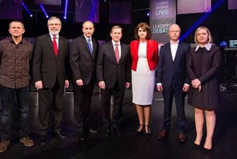 The seven leaders at last night\'s debate Pic: Courtesy of RTÉ