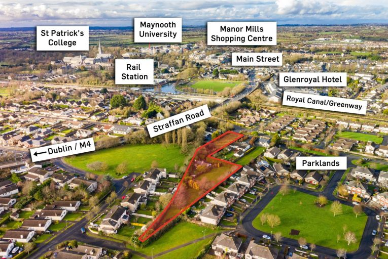 An aerial shot of the site at Rail Park in Maynooth, Co Kildare