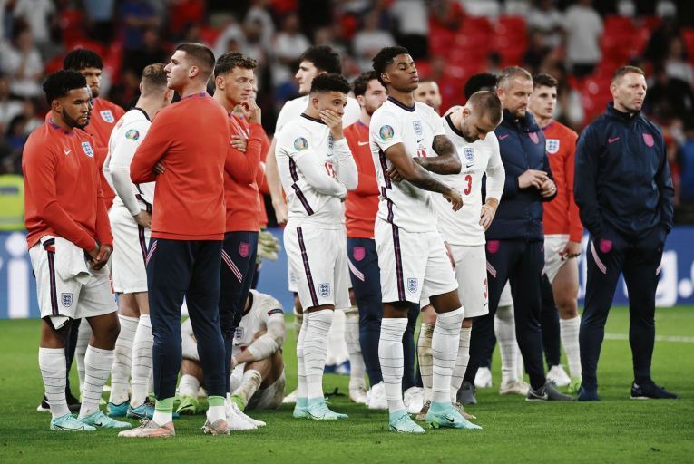 Marcus Rashford (centre) was one of three young England players to miss a penalty against Italy at Wembley last Sunday night. Picture: Getty