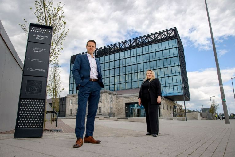 Kenneth Dwyer, sales director at IWG, and Kayleigh Houlihan, area sales manager for Cork, pictured at the new €160 million Horgan's Quay development. Picture: Daragh McSweeney/Provision