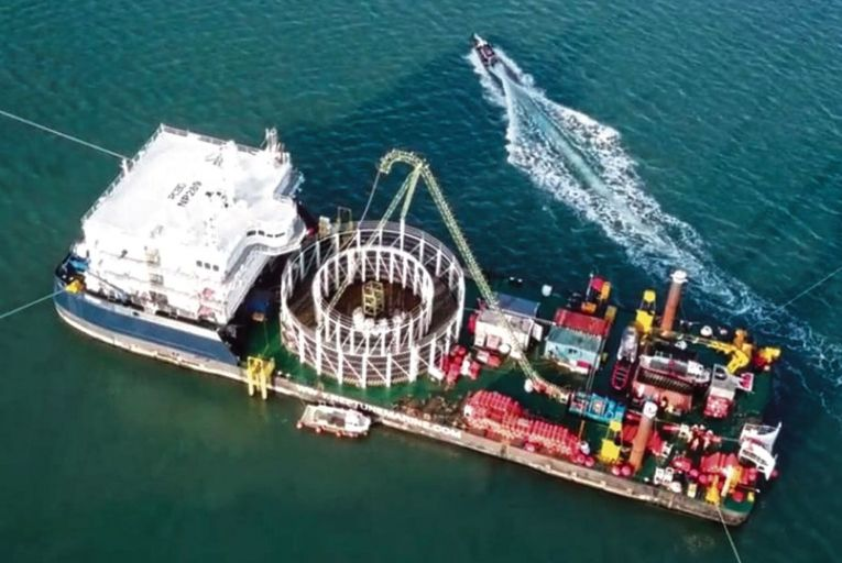 Cable being laid for the Britain-France interconnector: a fire last week knocked the cable offline