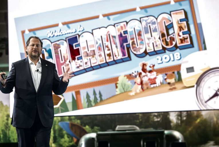 Salesforce chief executive Benioff is centre stage again
