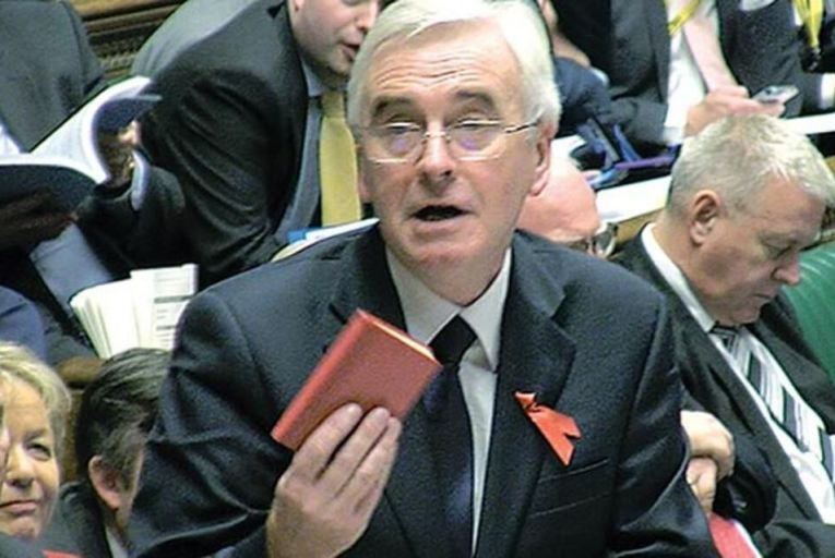 John McDonnell brandishes Mao's Little Red Book in the House of Commons last week