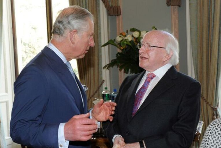 President Michael D Higgins and Prince Charles at the Irish embassy in London, where the state recently paid out €2.9million to repair the roof. Picture: Malcolm McNally/Photocall
