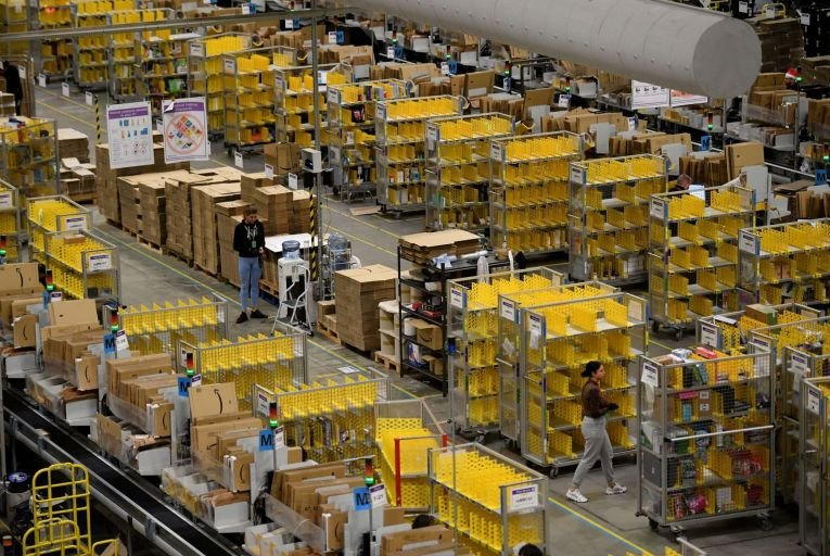 An Amazon fulfilment centre in Petersborough, England. A similar facility is due to open in Dublin. Photo: Getty