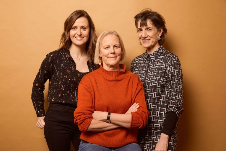 Clare Dunne, writer and star of Herself, Phyllida Lloyd, director, and Harriet Walter who also stars in the film. Picture: Getty