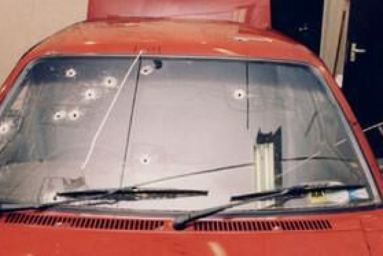 The car in which RUC Chief Superintendent Harry Breen and Superintendent Bob Buchanan were shot dead on March 20, 1989. Picture: RUC photograph courtesy of RTE Prime Time
