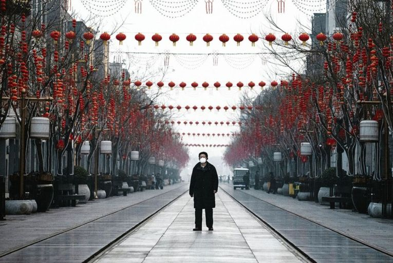 A sign of things to come: Beijing city centre shuts up shop in February, in response to the virus Pic: Kevin Frayer/Getty Images
