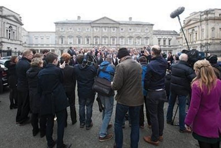 Enda Kenny with the  elected Fine Gael TDs at Leinster House last week Picture: RollingNews.ie