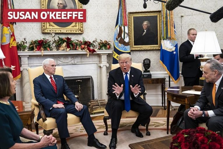 Nancy Pelosi (l) with Donald Trump in the Oval Office. Pic: Getty