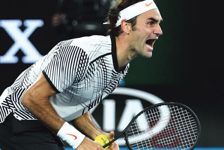 Roger Federer of Switzerland  celebrates winning championship  point against Rafael Nadal of Spain  at the 2017 Australian Open Picture: Getty