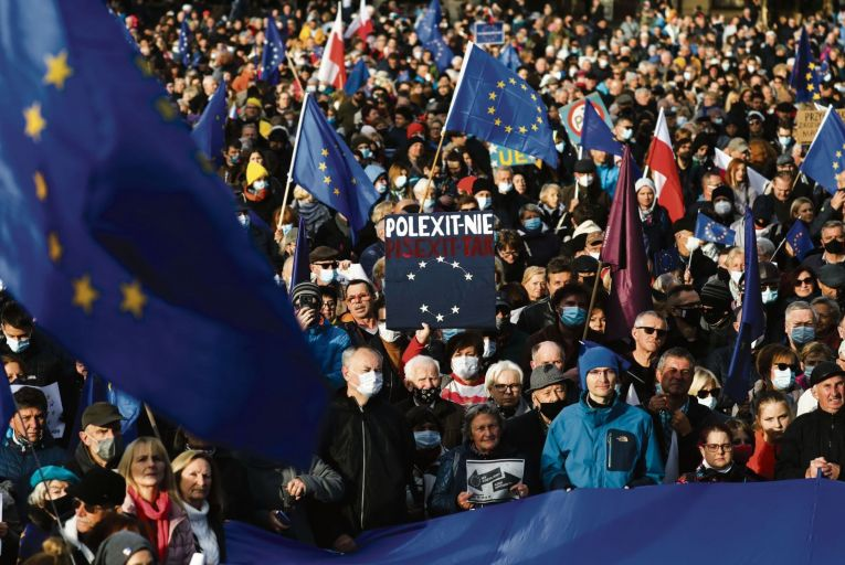 Thousands attend \'We\'re staying in EU\' demonstration at the Main Square in Krakow, Poland on October 10, 2021