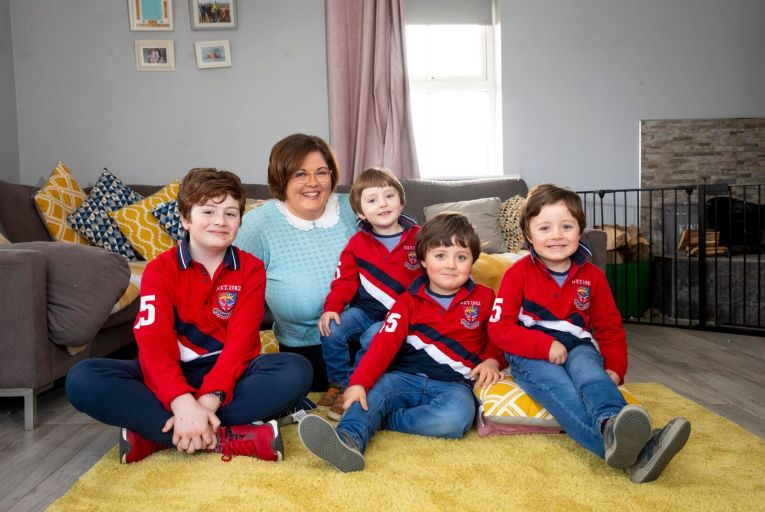 Selina Morrin with her sons, from left, Harry, nine, Noah two, and twins Ollie and Nathan, four, the three youngest of whom were conceived using the same donor. Photo: Mary Browne