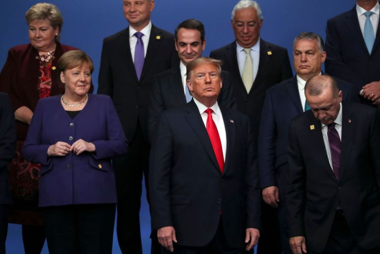 World leaders at a Nato summit in Britain in December. US President Donald Trump has accused the World Health Organisation of not holding China to account. Picture: PA