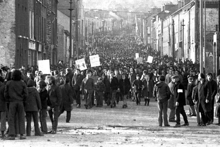 Marchers gather in Derry before the events that were later to be dubbed Bloody Sunday after British paratroopers shot 29 civilians, 14 of whom diedShutterstock