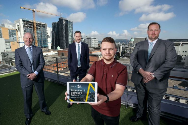 Joe O'Neill, chair of Renewed Ambition; Robert Ditty, executive director of CBRE NI; councillor Ryan Murphy; and Gavin Elliott, senior director of capital markets at CBRE NI, attend the launch of the research report Investing in Belfast's Future