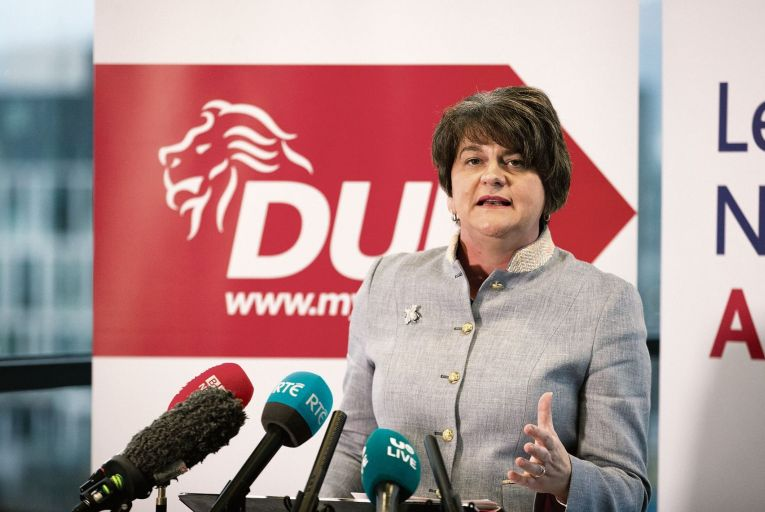 DUP leader Arlene Foster must address calls for a border poll. Picture: PA
