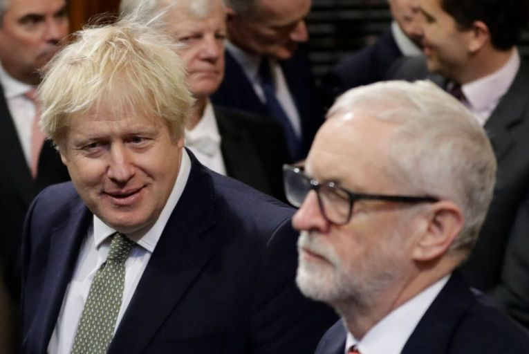 """Boris Johnson and Jeremy Corbyn: the British prime minister said his bill """"must not be seen as a victory for one party over another or one faction over another"""". Picture: Getty"""