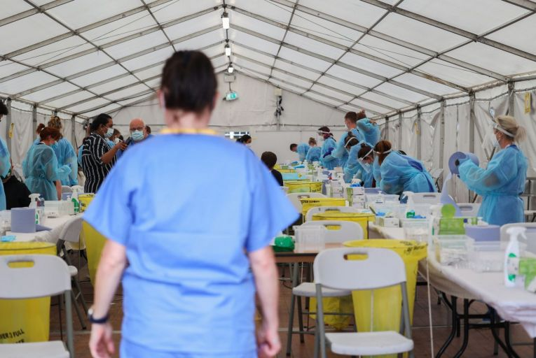 Antigen testing at a pilot festival in Kilmainham in Dublin: 'It is not as accurate as the gold standard PCR test, but PCR capacity is inherently limited.' Picture: Sam Boal/Rollingnews.ie