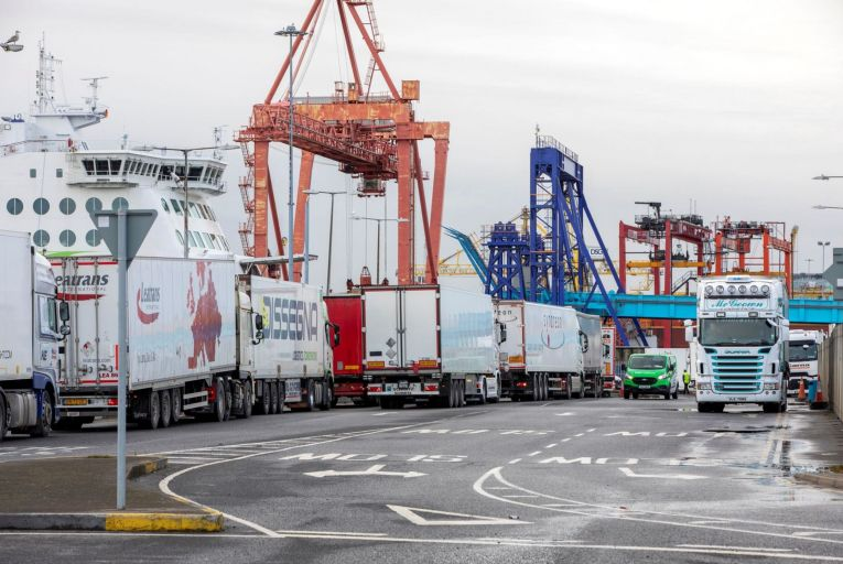 Freight trucks at Dublin Port in January: Ireland's imports from Britain for the first two months of 2021 more than halved compared with the same time in 2020. Picture: Getty