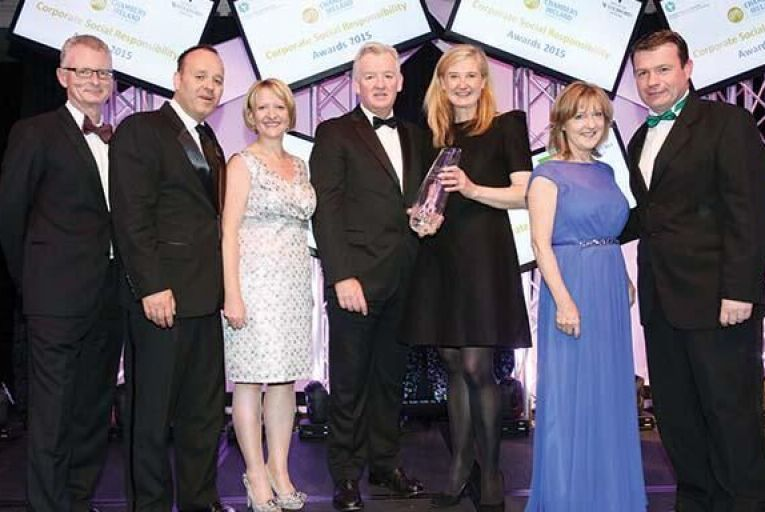 Ulster Bank won the Outstanding Achievement in CSR Award, sponsored by BAM Ireland. From left: Ian Talbot, chief executive of Chambers Ireland; Kevin Keegan, head of HR, Ulster Bank; Maeve McMahon, director products and customer experience, Ulster Bank; Theo Cullinane, chief executive of BAM Ireland; Sarah Dempsey, head of corporate affairs and economics, Ulster Bank; Pauline McKiernan, sustainability and community affairs manager, Ulster Bank; Minister Alan Kelly, T.D., Department of the Environment, Community and Local Government