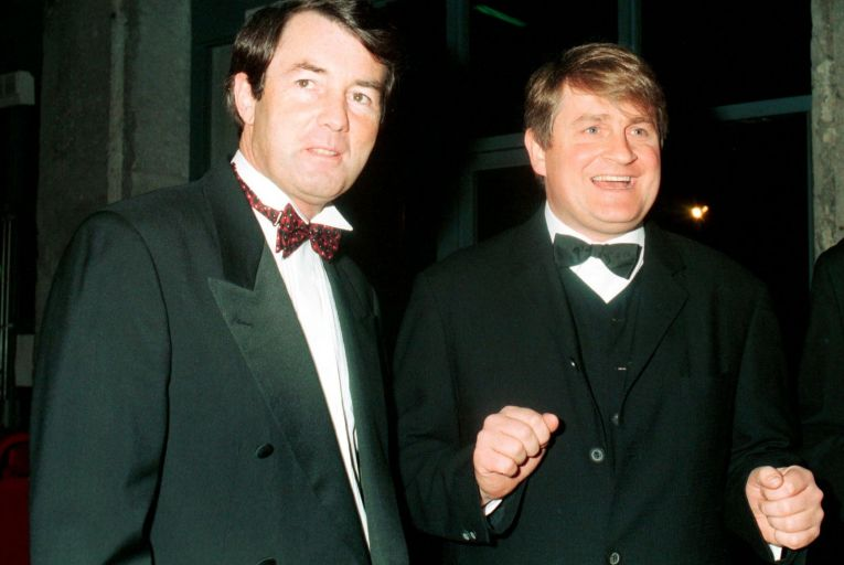 Michael Lowry and Denis O'Brien at the launch of Esat Digifone in Dublin in March 1997: the granting of the mobile phone licence to O'Brien was later examined by the Moriarty Tribunal. Picture: Eamonn Farrell/Photocall Ireland