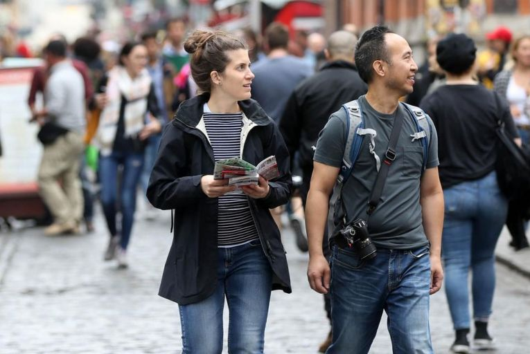 Tourists in Temple Bar in Dublin before the arrival of Covid-19 hit: tourism businesses in the capital and throughout the country are facing a bleak future without overseas visitors