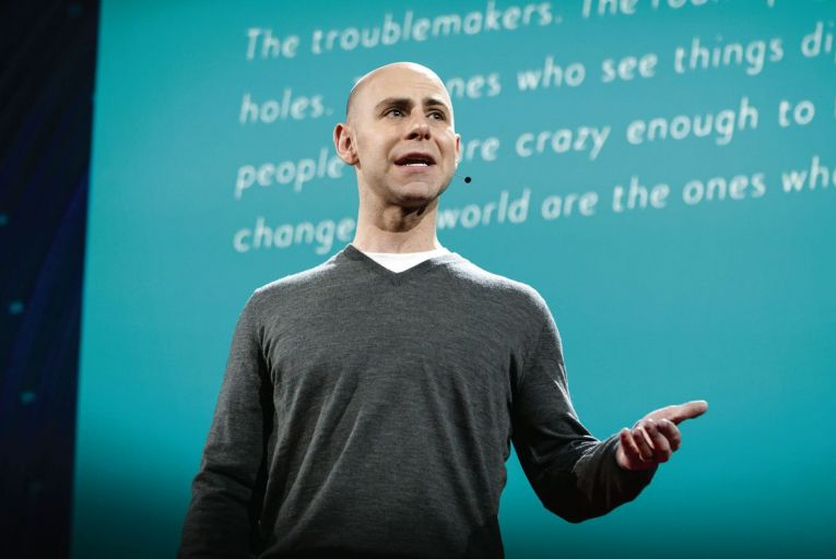 Adam Grant is adept at dropping attention-grabbing nuggets of research into his breezy narrative. Photo: Bret Hartman/TED